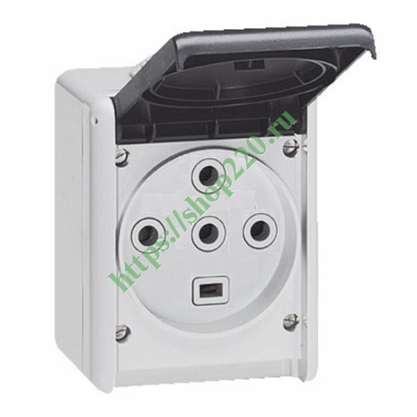 Розетка 3К+Н+З 32А 380V IP55 Legrand Plexo