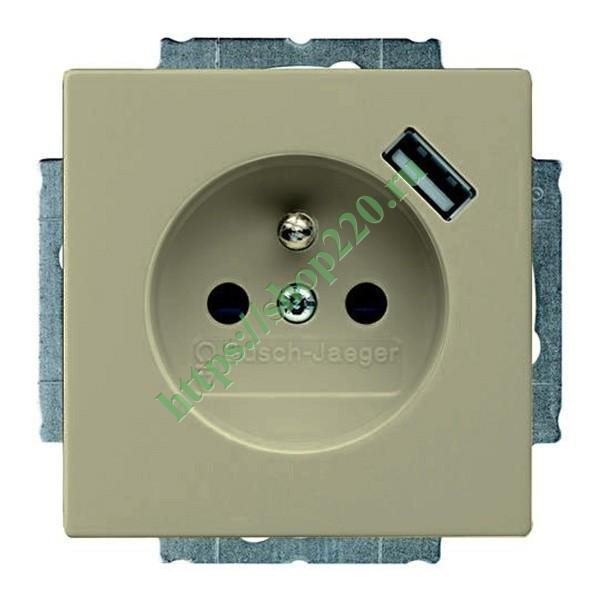 Розетка с зарядным устройством USB 700 мА с защитой от перегрузки и КЗ ABB  Basic 55 цвет шампань (20 1e4fc01e1b0