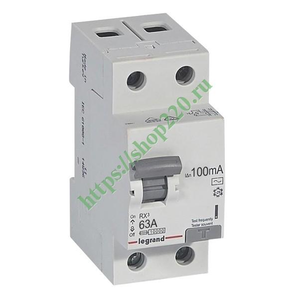 Купить УЗО Legrand RX3 ВДТ 2П 63А 100мА тип AC 402030 по цене 3527.13 р. vdl148357