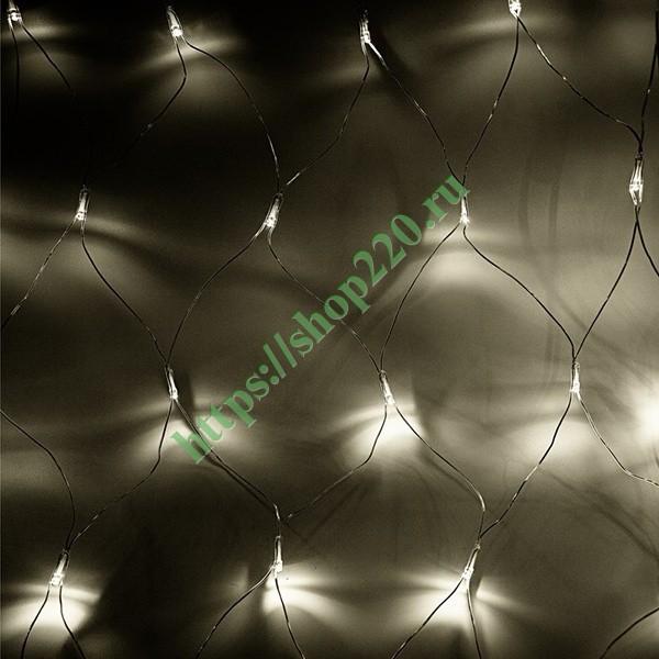 Гирлянда Сеть 1,8х1,5м 180LED тепло-белый, 8 режимов свечения, прозрачный провод, 230В