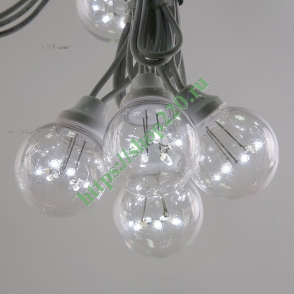 Гирлянда LED Galaxy Bulb String 10м, белый КАУЧУК, 30 ламп*6 LED БЕЛЫЕ  Партия NN на ПВХ, 25 ламп, в