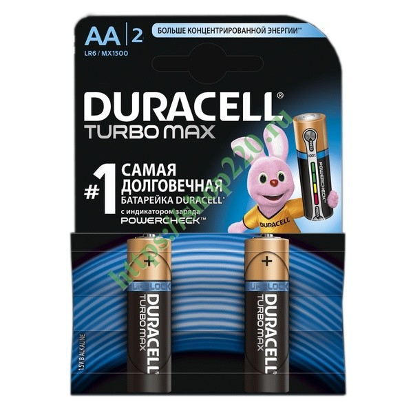 Батарейка Duracell AA LR6 MX1500 TURBO MAX (упаковка 2шт)