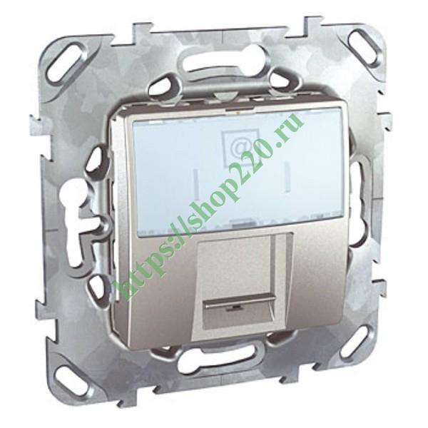 Компьютерная розетка Unica Top 1хRJ45 кат. 6 с полем для надписи цвет  Алюминий 0079815ef32