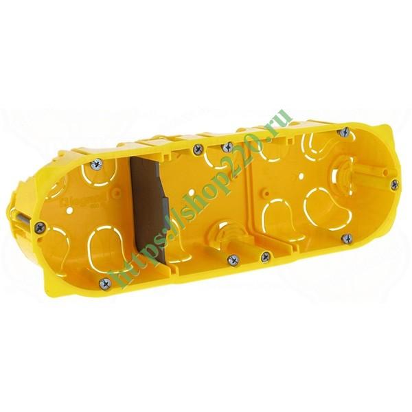 Купить Монтажная коробка Legrand Batibox 3п гл.50мм для сухих перегородок [уп. 30шт] 080053 по цене 417.35 р. в наличии vdl29247
