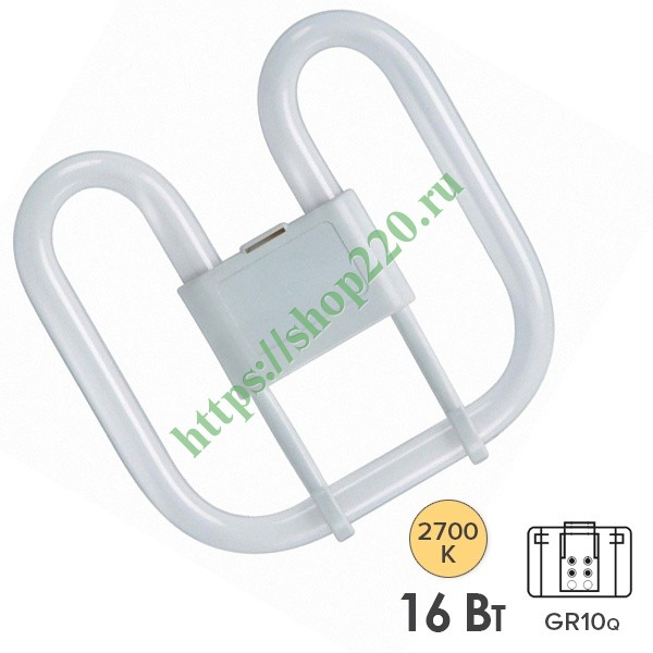 Лампа Osram CFL Square 16W/827 4-Pin GR10q теплая