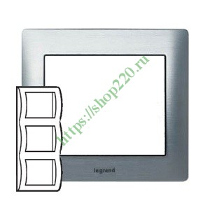 Рамка Legrand Galea Life 3 поста вертикальная Brushed Aluminium