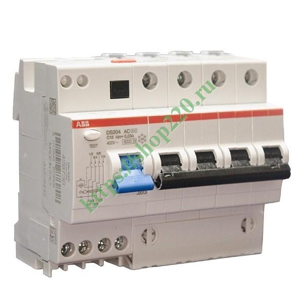 Купить Дифференциальный автомат ABB 4-полюсный DS204 AC-C32/0,03  6 модулей 2CSR254001R1324 по цене 11550.9 р. в наличии vdl9895Дифференциальный автомат ABB 4-полюсный DS204 AC-C32/0,03 6мод.